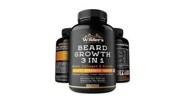 Beard Growth Pills - Hair Grow Vitamins for Men - Made in USA - Biotin, Collagen, Keratin, MSM Supp