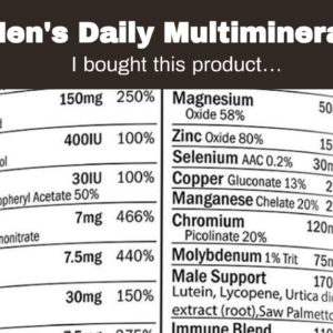 Men's Daily Multimineral Multivitamin Supplement. Vitamins A C E D B1 B2 B3 B5 B6 B12. Magnesiu...